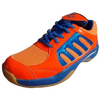 Port Mens Drift Orange Blue Pu Badminton Sports shoes
