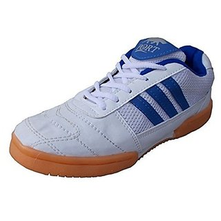 Port Mens Zebra White Blue Pu Badminton Sports Shoe