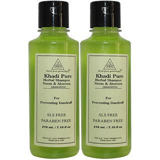 Khadi Pure Herbal Neem Aloevera Shampoo SLS-Paraben Free - 210ml (Set of 2)