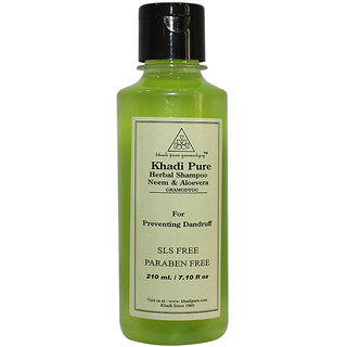 Khadi Pure Herbal Neem Aloevera Shampoo SLS-Paraben Free - 210ml