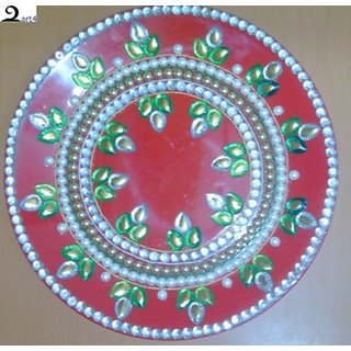 Decorative pooja thali with kundan stone work based on for Aarti thali decoration with kundan