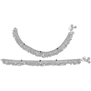 Beadworks Oxidized Silver Anklet For Women (AKL-71)