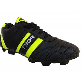 Port Mens Sprnt Black Green Leather Football Sports Shoes
