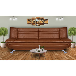 Elite Dolphin 3 Seater Sofa Bed Leatherrete-Tan