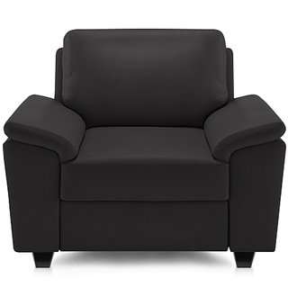 Adorn Homez Oxford Leatherette 1 Seater Sofa Set-Black