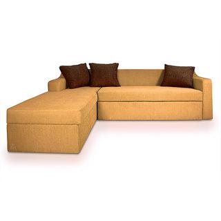 Adorn Homez PHOENIX L-Shape-Right Fabric Sofa-Storage-Beige-Brown