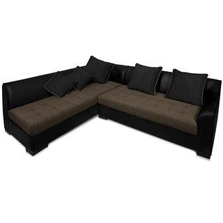 Adorn Homez L-Shape leather-Fabric Kingston Sofa Set-BLACK-GREY-LEFT