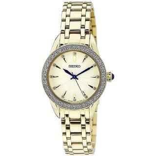 Seiko Gold Stainless Steel Round Dial Analog Watch For Women (SRZ386P1)