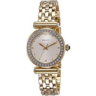 Seiko Gold Stainless Steel Round Dial Analog Watch For Women (SRZ468P1)