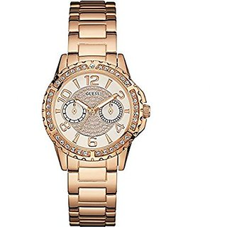 GUESS Rose Gold Metal Round Dial Chronograph Watch For Women (W0705L3)