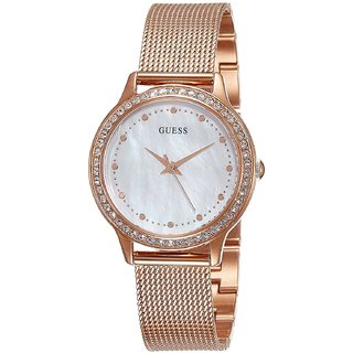 GUESS Rose Gold Stainless Steel Round Dial Analog Watch For Women (W0647L2)