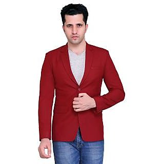 abc garments Solid Single Breasted Casual Mens Blazer (Maroon)