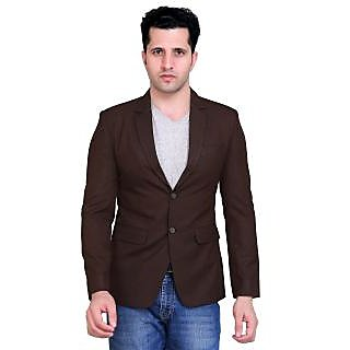 abc garments Solid Single Breasted Casual Mens Blazer (Brown)