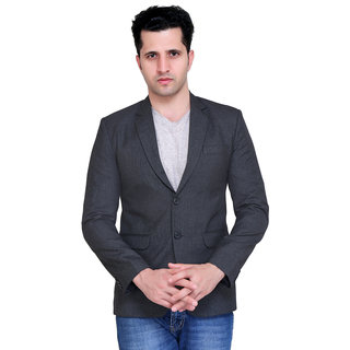 abc garments Solid Single Breasted Casual Mens Blazer (Grey)