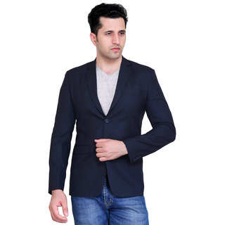 abc garments Solid Single Breasted Casual Mens Blazer (Dark Blue)