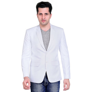 abc garments Solid Single Breasted Casual Mens Blazer (White)