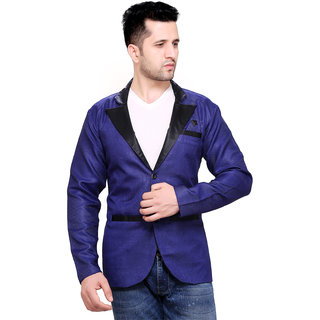 abc garments Solid Single Breasted Casual Men Blazer (Blue)