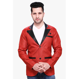abc garments Solid Single Breasted Casual Men Blazer (Red)