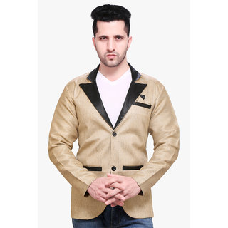 abc garments Solid Single Breasted Casual Men Blazer (Khaki)
