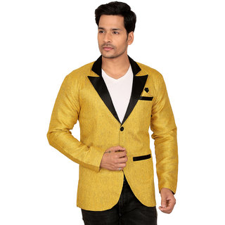 abc garments Solid Single Breasted Casual Men Blazer (Yellow)