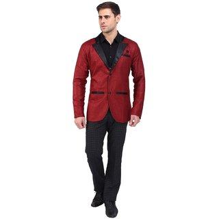 abc garments Solid Single Breasted Casual Men Blazer (Maroon)