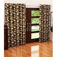ILiv Seven Brown Flower Curtain ( Set Of 2 ) - 7Ft