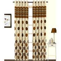 ILiv Anti Wrinkle Premium Brown Panel Curtain ( Set Of 2 ) 7Ft