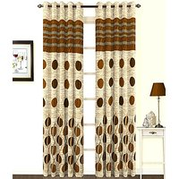 ILiv Premium Anti Wrinkle Brown Panel Curtain ( Set Of 2 ) 9Ft