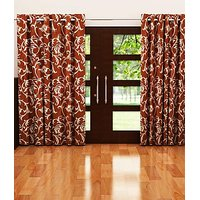 ILiv Brown Flower Curtain ( Set Of 2 ) - 9Ft