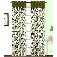 ILiv Green Square Curtain ( Set Of 2 ) - 9Ft