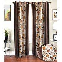 ILiv Designer Brown Floral Curtains 9Ft - Set Of 2