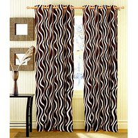 ILiv Brown Lehar Curtain ( Set Of 2 ) - 7Ft