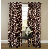 ILiv Brown Flower Curtain ( Set Of 2 ) - 5Ft
