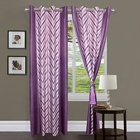 ILiv Purple V Curtain ( Set Of 2 ) - 9Ft