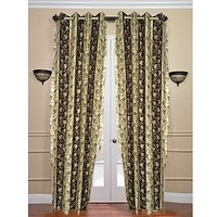 ILiv Brown Bell Curtain ( Set Of 2 ) - 7Ft