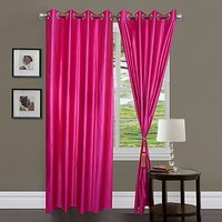 ILiv Dark Pink Plain Bamboo Curtain ( Set Of 2 ) - 5Ft