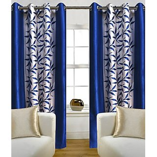 Iliv Blue,White Polyester Door Eyelet Stitch Curtain 5 Feet (Combo Of 2)