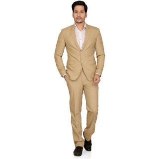 abc garments Self Design Double Breasted Formal Mens Blazer (Beige)