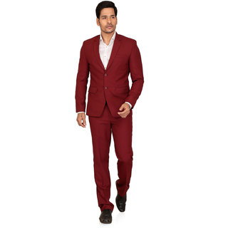 abc garments Self Design Double Breasted Formal Mens Blazer (Maroon)