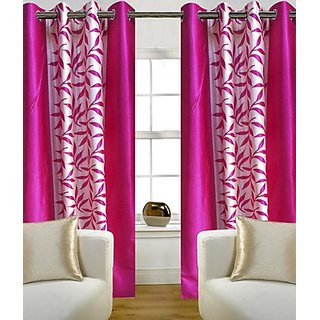 iLiv Pink Kolveri Flower Door Curtain  7Ft - 1 Pc