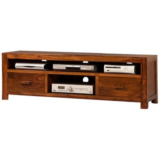 Solid Wood Sheesham Media Unit in Brown Finish