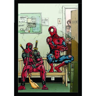 """Spider Man Poster With Black Frame Sixe 8.5"""" X 11"""""""