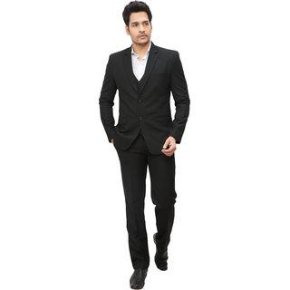 abc garments Self Design Double Breasted Formal Mens Blazer (Black)