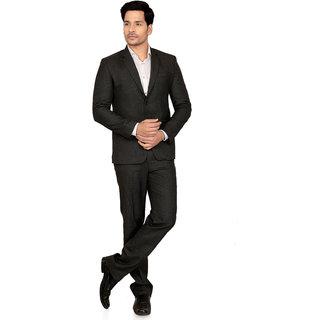 abc garments Self Design Double Breasted Formal Mens Blazer (Dark Grey)