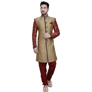 abc gatments Houndstooth Sherwani Gold