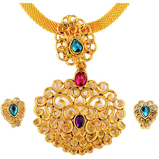 Asian Pearls & Jewels Golden Pendant Set