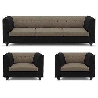 Adorn Homez Fremont Fabric 3+1+1Seater Sofa Set-Black&