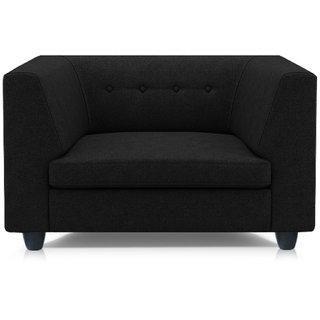 Adorn Homez Fremont Fabric 1Seater Sofa Set-Black