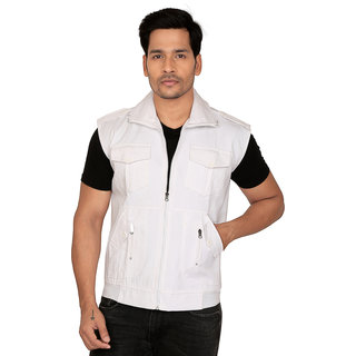 abc garments Mens White Casual Jacket