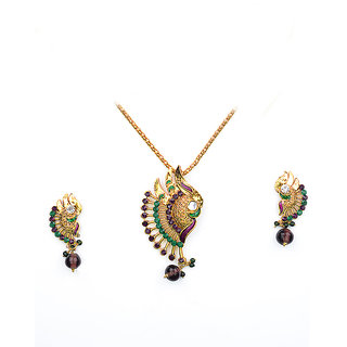 Asian Pearls & Jewels Multi Color Pendant  Set - 5042508